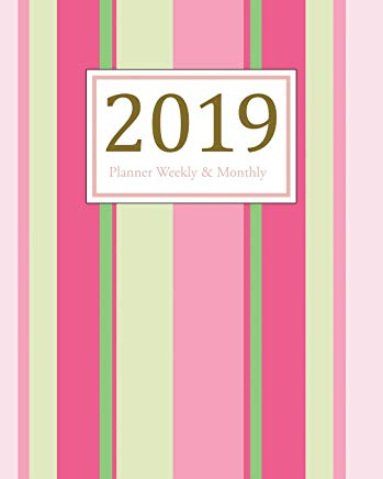2019 Planner Weekly and Monthly: A Year - 365 Daily - 52 Week Journal Planner Calendar, Agenda Schedule Organizer, Appointment Notebook, Monthly ... Diary, To do .. Pink Stripes (vol 13) Cover