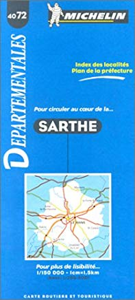Michelin Sarthe, France Map No. 4072 (Departmental Maps) Cover