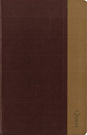 NIV, Quest Study Bible, Personal Size, Leathersoft, Burgundy/Tan, Indexed: The Question and Answer Bible Cover