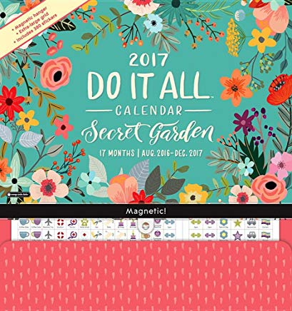 Orange Circle Studio 17-Month 2017 Do It All Magnetic Wall Calendar, Secret Garden (Do It All Wall) Cover