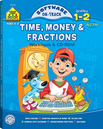 Time, Money & Fractions, Grades 1-2 (Book & CD) (Software: On Track) Cover